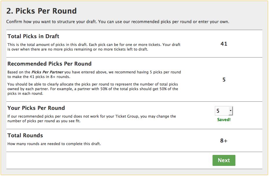 Pick per round