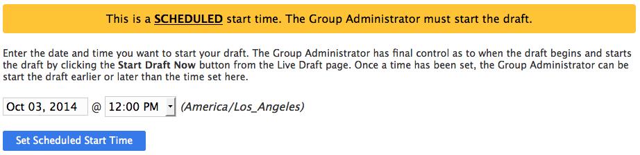 Enter draft start time