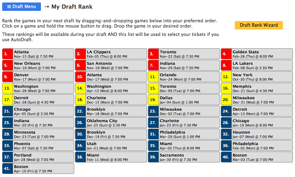 Rank games in the season for season ticket draft