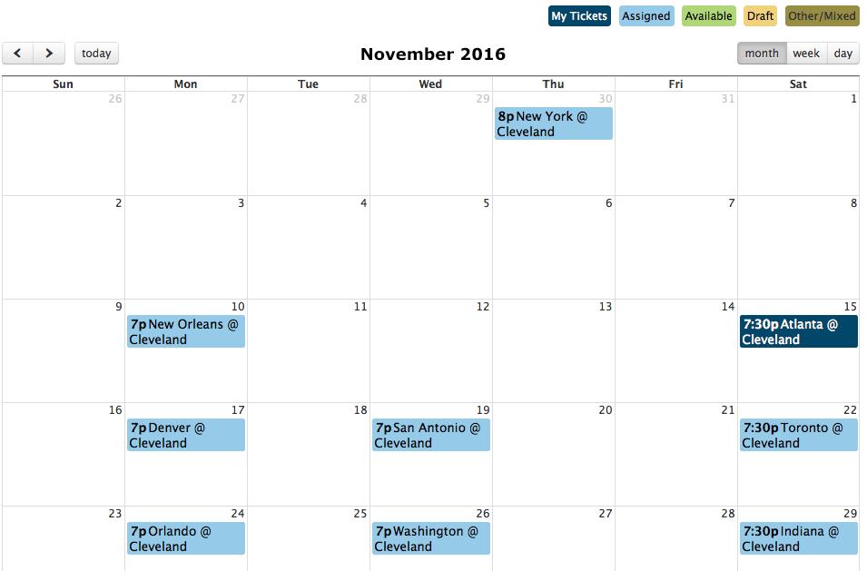 Ticket draft in calendar