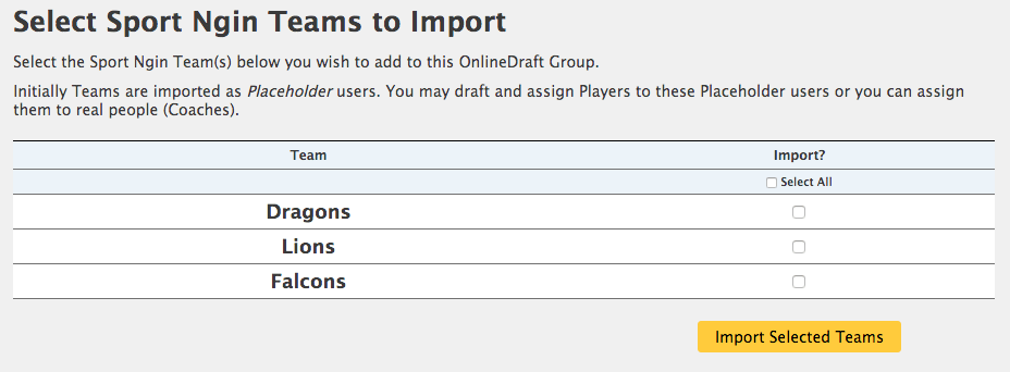 Import Teams from SportsEngine