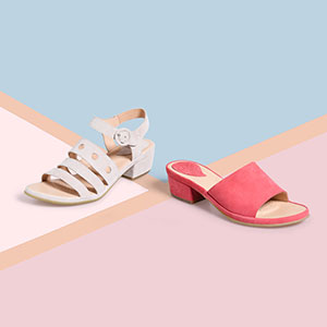 Becka and Bo footwear on geometeric background