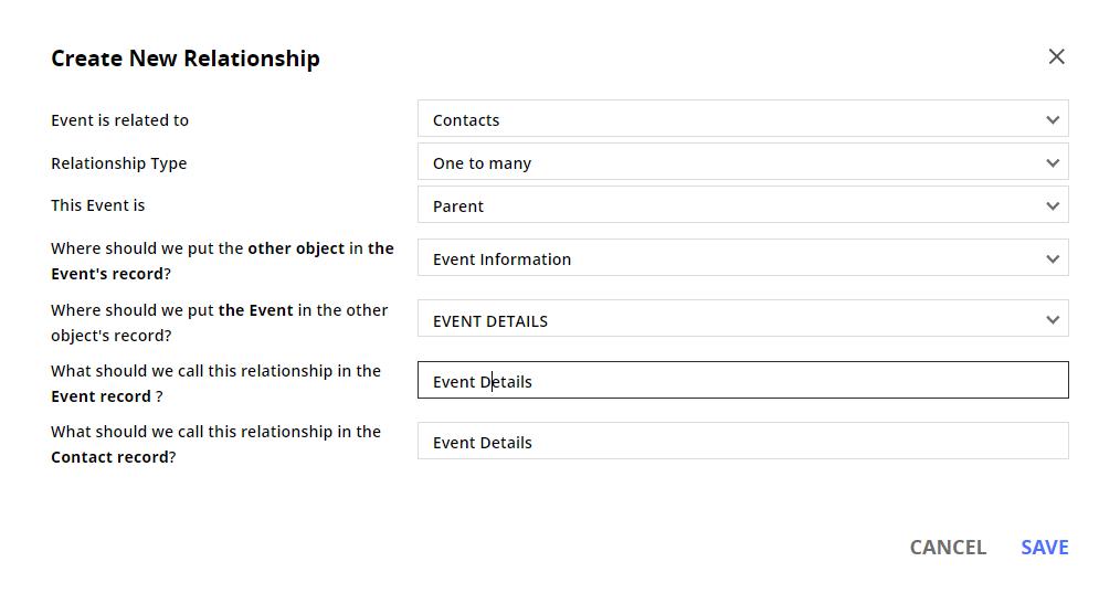 the new relationship configuration menu