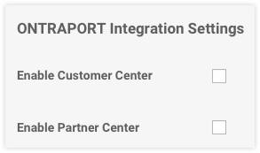 the Ontraport integration settings section
