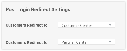 the post login redirect settings section