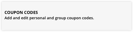 the coupon codes menu selection