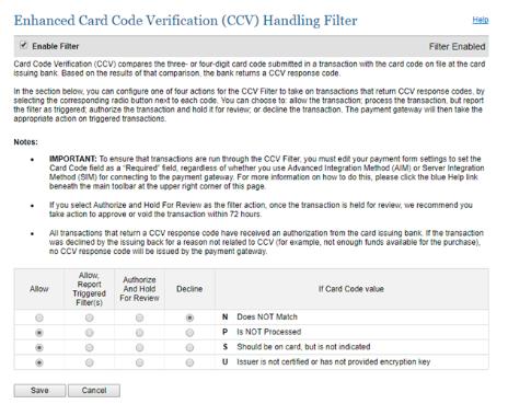 CCV Handling Filter