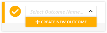 the green create new outcome button