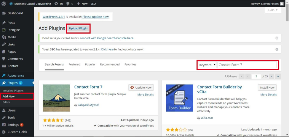 how to use contact form in wordpress