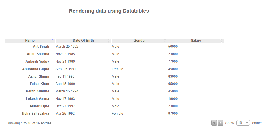 Render Data Using JQuery Datatables API