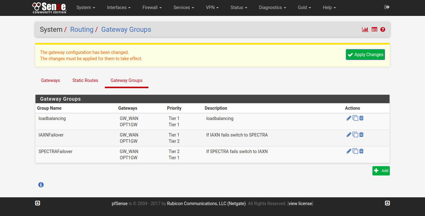 Failover Load Balancing in PFSense