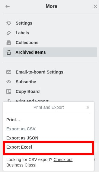 How to export data from Trello board to Excel