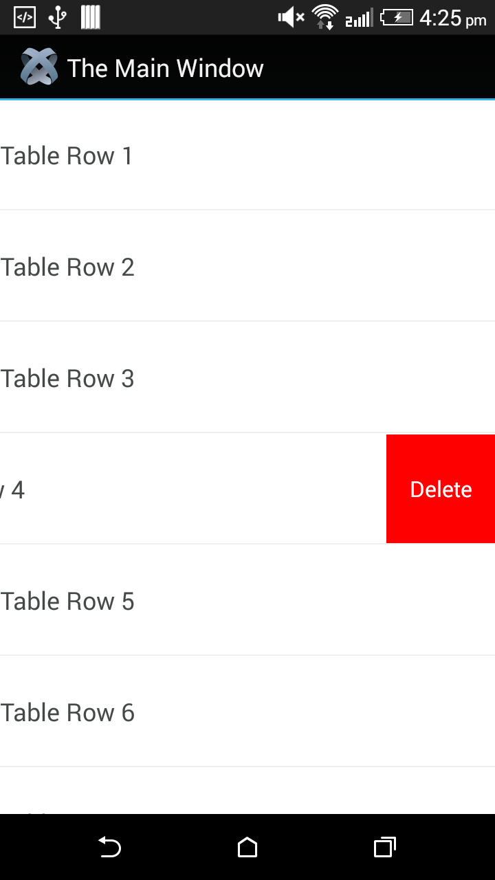 Delete Titanium Table View Row in Android with iOS look and feel