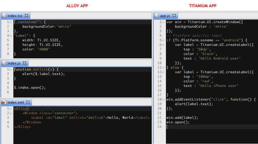 Titanium App Vs Alloy App