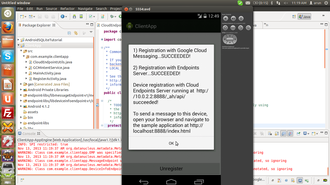 Build a android app with an app engine backend for local server you have to make sure the localandroidrun boolean variable is set to true start the app engine baditri Choice Image