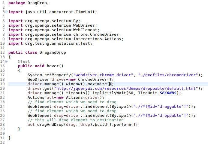 Mouse Hover and Drag Drop Action in Selenium WebDriver