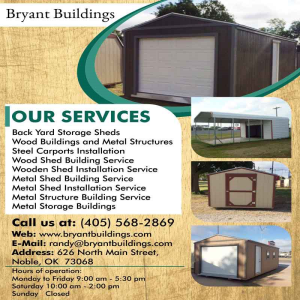 Wood Shed Building Service Noble | Bryant Buildings, 626