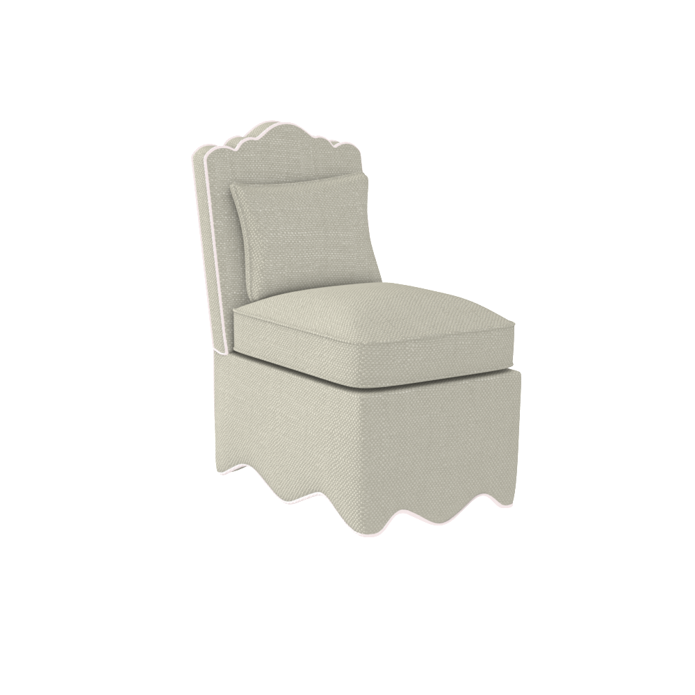 Upholstered Scallop Slipper Chair American Made Oomph