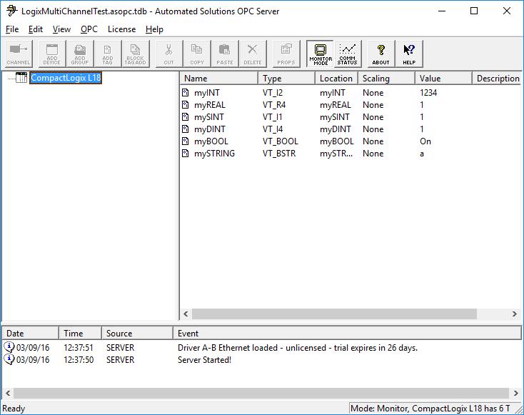 Allen-Bradley Ethernet OPC DA 3.0 Server