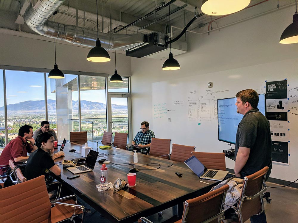 Ken Collier leads a discussion at the Utah Operation Code meetup.