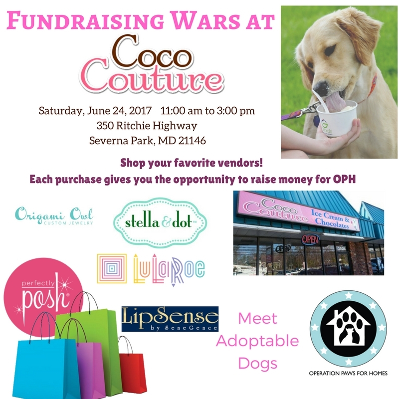 Operation Paws For Homes - Fundraising Wars & Shopping Event @ Coco Couture Ice Cream & Chocolates | Severna Park | Maryland | United States