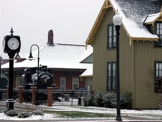 Clock  railroad house and old no. 12 snow small