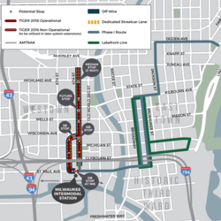 The milwaukee streetcar tiger 8 application 4th st extension map draft small