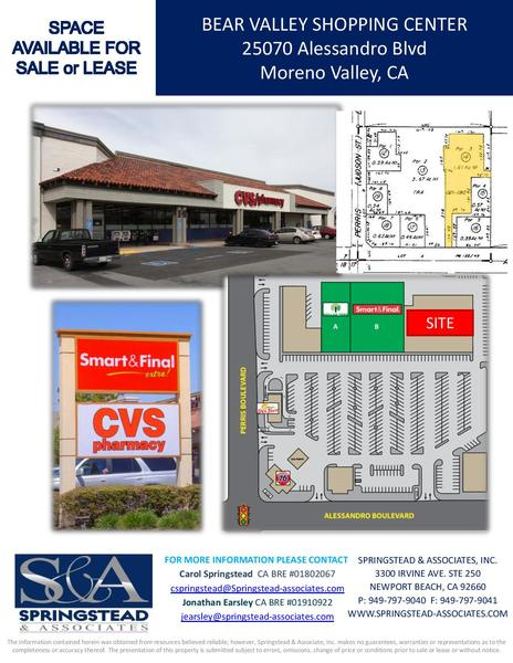 bear valley shopping center anchor space moreno valley oppsites