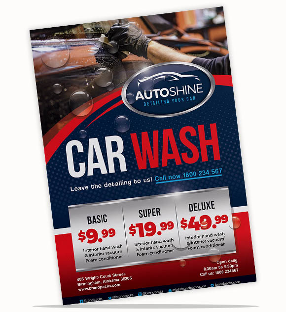 A4 Car Wash Poster Template For Photoshop & Illustrator - Brandpacks