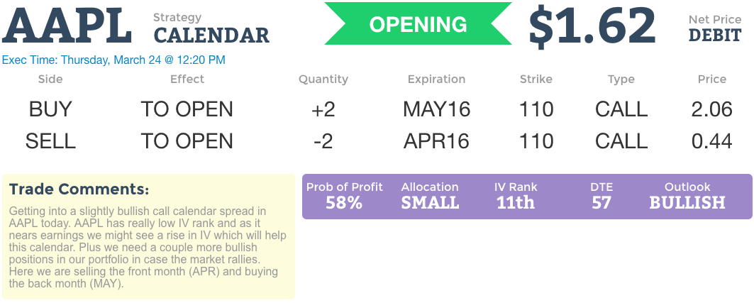 Live Options Trading | AAPL Call Calendar (Opening Trade)