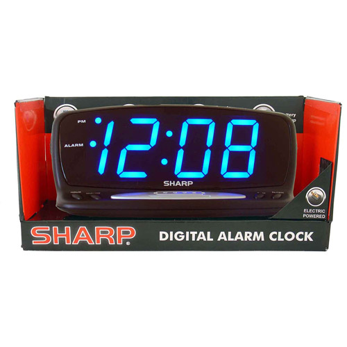 Sharp Blue Jumbo Led Alarm Clock Black Spc1221xf Check