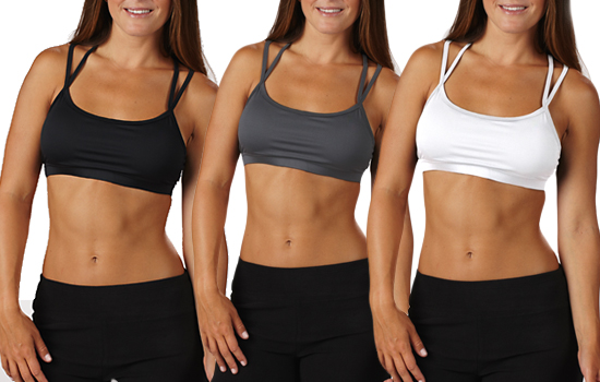 ac88a63318 Bally Total Fitness 3-Pack Double-Strap Sports Bra - Black Carbon ...