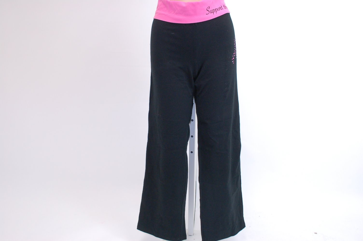 1c48cbea4cb8d ... American Crown Women's Support the Cure Yoga Pants Large - Black/Pink  ...