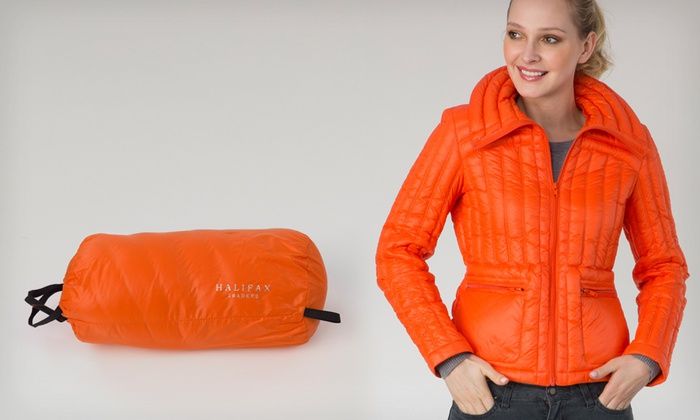 Halifax Traders Women&39s Lightweight Packable Down Jacket - Orange
