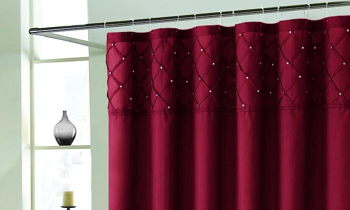 rhinestone pintuck faux silk shower curtain: eggplant, - check