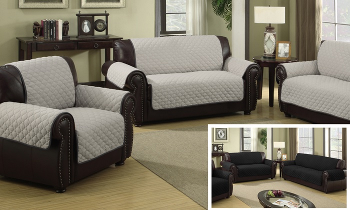 Quilted Reversible Furniture Slipcover: Silver/Black (Sofa ...