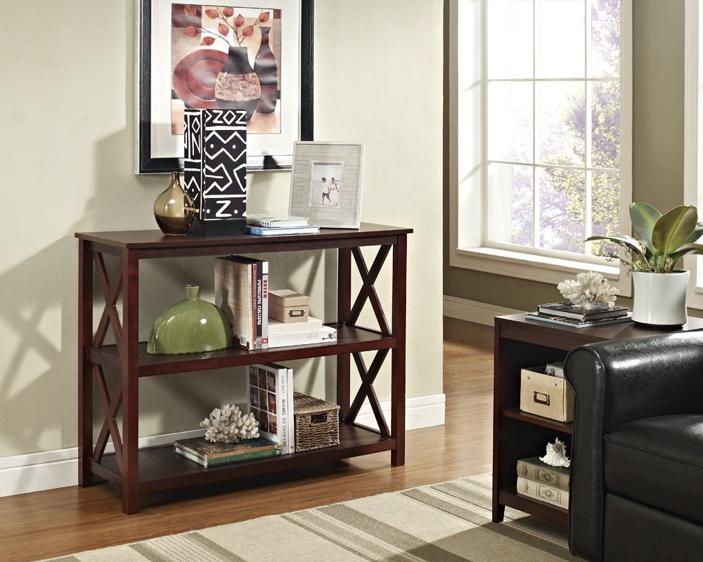 Ehome Products Espresso Occasional Console Sofa Table Bookshelf