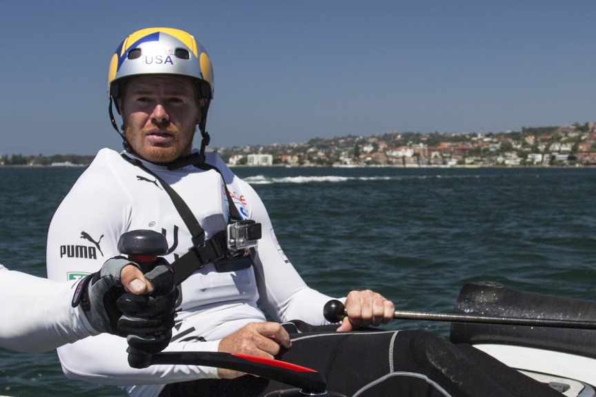 Tom Slingsby at the helm of the ORACLE TEAM USA during training in Sydney, Australia.