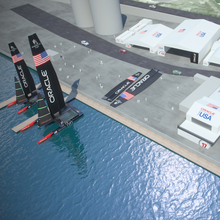 A drawing of the ORACLE TEAM USA base to be built at Dockyard in Bermuda.