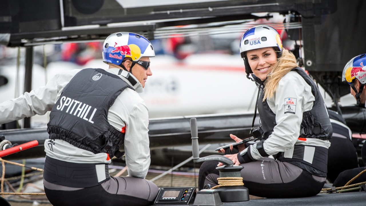 New York (USA) - 35th America's Cup Bermuda 2017 - Louis Vuitton America's Cup World Series New York - Media Day -1 - Lindsey Vonn onboard OTUSA