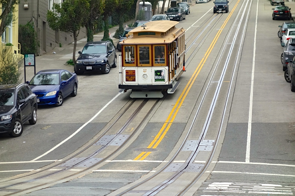 Cable car down hill