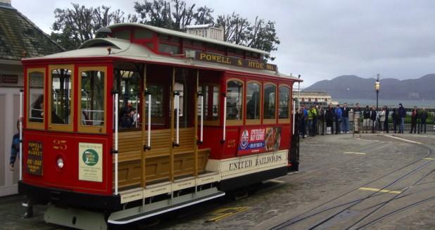 Empty cable car at Fisherman's Wharf, San Francisco