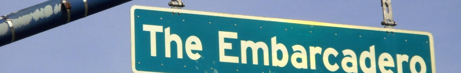 Embarcadero street sign in San Francisco, California