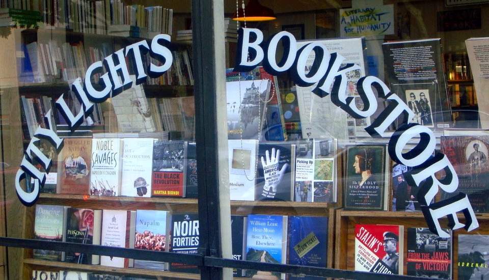 City Lights Books storefront on Columbus Ave. in North Beach, San Francisco.