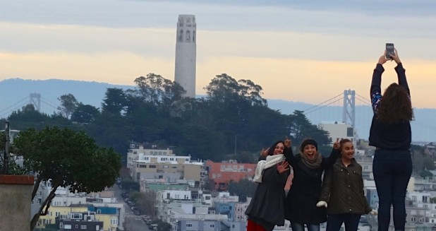 Travelers on Lombard Street