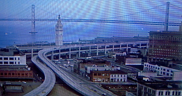 Old Embarcadero freeway before the 1989 earthquake.