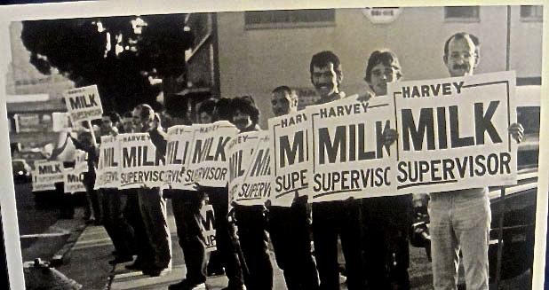 Harvey Milk supporters in San Francisco, California.