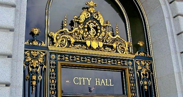 Gold trim on San Francisco's City Hall entrance.