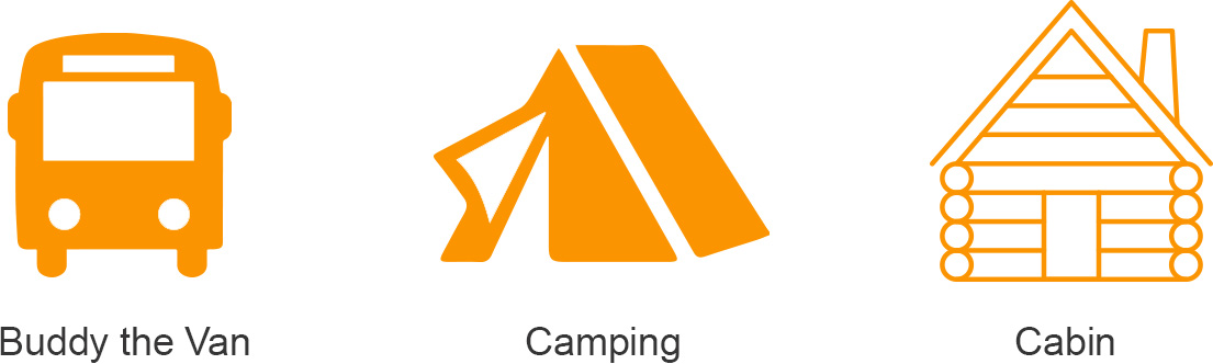 Tour Van and Camping Icon