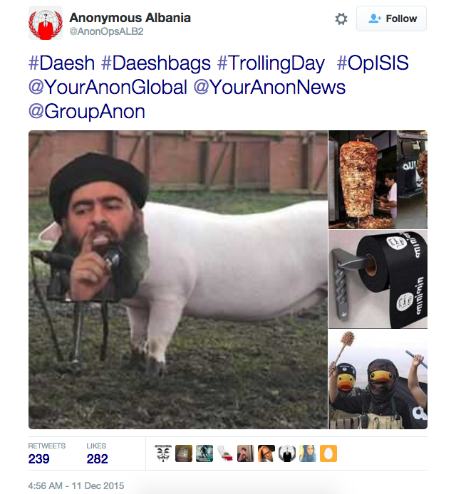 Twitter user @AnonOpsALB2 (part of the Anonymous hacktivist group) has repeatedly posted mashup of ISIS members and pigs or pork products.